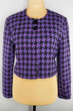 Vintage cropped blazer in houndstooth print. Beautiful rich purple color. Cropped Blazer, Tweed Blazer, Vintage Shops, Vintage Items, Fall Months, Purple And Black, Houndstooth, Vests, Blazers