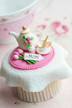 Miniature cake decoration, tea cup and teapot with tulip bouquet and tablecloth pink colourscheme - Afternoon Tea or Spring Mothers Day cakes and baking inspiration