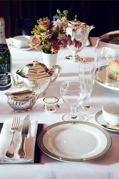 Entertaining champagne afternoon high tea at the Worsley hotel, London silverware table setting (dja)