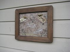 Dry Erase Magnet Board in a vintage distressed wood frame, with a burlap backdrop of birds and trees, photo display and message board by jensdreamdecor on Etsy