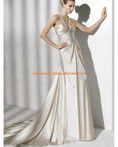 Sexy luxuriöse Brautkleider aus Satin V-Ausschnitt mit Schleppe