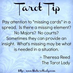 """Tarot Tip 102/8/14: pay attention to """"missing cards"""" in a spread. #tarot #tarottip awakenpastlives.com"""