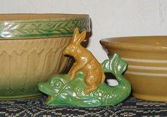 Bittersweet House Yelloware Rabbit on Fish  Yellowware Bunny Rabbit, yelloware mold rabbit, chalkware rabbit