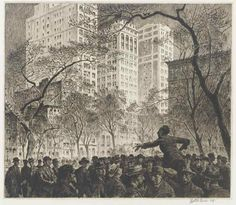 MARTIN LEWIS The Orator, Madison Square. Etching, sand ground and routlette printed in dark, brownish black on cream laid paper, Edward Hopper, Greenwich Village, Success And Failure, The Orator, Skyline, Snowy Day, Madison Square, Australian Artists, American Artists