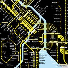 Zürich | night Corporate Identity Design, Map Design, Graphic Design, Transport Map, Map Logo, Mental Map, Zurich, Subway Map, S Bahn
