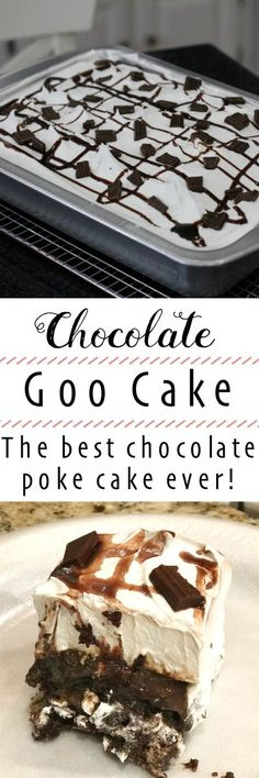 This Chocolate Poke Cake recipe is simply the best! This delicious chocolate goo cake topped with whipped cream is going to be your new favorite. Poke Cake Recipes, Cupcake Recipes, Baking Recipes, Dessert Recipes, Kitchen Recipes, Easy Desserts, Delicious Desserts, Yummy Food, Delicious Chocolate