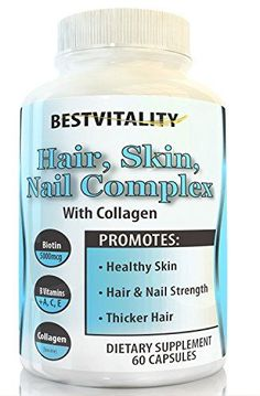 BestVitality 100 Natural Hair Skin Nails Beard  Stache HairGrowth Supplement This formula contains Vitamin E B1 Thiamine B2 Riboflavin B5 Pantothenic Acid Biotin Zinc Copper and Collagen * Check this awesome product by going to the link at the image.