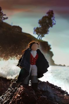 Splash. Handmade Waldorf historical fairy tale recycled miniature table top puppet show men dolls Shipwrecked soldier Corona Del Mar. CastleofCostaMesa.Com