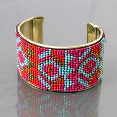 Multi Seed Bead Tribal Cuff Bracelet