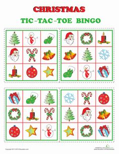 Christmas Kindergarten Printable Board Games Fine Motor Skills Worksheets: Christmas Bingo