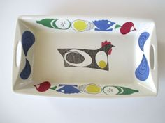 Vintage-Figgjo-Flint-Flameware-Casserole-Dish-Serving-Platter-Norway-Chicken-Egg Hand Painted, Apple, Pattern, Egg, How To Make, Stuff To Buy, Vintage, Apple Fruit, Eggs