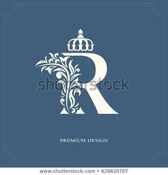 Elegant letter R with a crown. Vintage drawn emblem for book design brand name business card Restaurant Boutique Hotel. V Logo Design, Book Design, Branding Design, Logo D'art, Blue Rose Tattoos, Church Logo, Diamond Logo, Hotel Logo, Alphabet Wallpaper