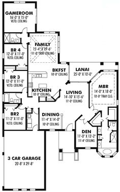 Traditional Style House Plan 66884 with 4 Bed , 3 Bath , 3 Car Garage - sq ft; First Floor Plan of Craftsman Florida Ranch Traditional House Plan 66884 - Craftsman Style House Plans, Ranch House Plans, New House Plans, Dream House Plans, House Floor Plans, My Dream Home, Craftsman Ranch, Home Goods Decor, House Blueprints