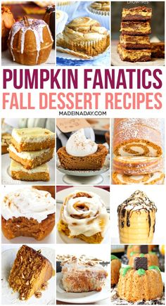 Are you a fall pumpkin fanatic? Then these Mouthwatering Pumpkin Dessert Recipes are the perfect addition to your fall recipe collection! Pumpkin Bundt Cake, Baked Pumpkin, Pumpkin Dessert, Pumpkin Rolls, Pumpkin Recipes, Cheese Pumpkin, Pumpkin Bars, Vegan Pumpkin, Pumpkin Spice