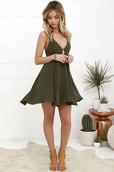 Bay Olive Green Dress Samana Bay Olive Green Dress at !Samana Bay Olive Green Dress at ! Sexy Dresses, Cute Dresses, Dress Outfits, Casual Dresses, Short Dresses, Cute Outfits, Fashion Outfits, Summer Dresses, Style Fashion