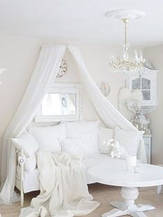 Shabby Chic White Yummy vintage whites white decor romantic prairie farmhouse cottage style-- So need this look for my vanity room Shabby Chic Mode, Estilo Shabby Chic, Shabby Chic Living Room, Shabby Chic Interiors, Shabby Chic Bedrooms, Shabby Chic Kitchen, Shabby Chic Cottage, Shabby Chic Style, Shabby Chic Furniture