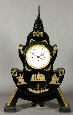 Biedermeier clock, black ebonized and brass inlaid, circa 1840s