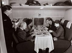 Passengers dining on board a Comet jet, c.1952. After two such Comets exploded in mid-air, the Pilot ACE computer designed by Alan Turing was used to help determine the design problems that had caused to the accidents.