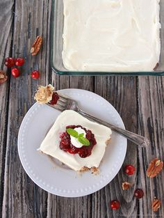 Cranberry Pecan Bars on www.cookingwithruthie.com are a holiday dessert that won't be forgotten! Yum.