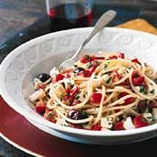 Spaghetti with Tomatoes, Basil, Olives, and Fresh Mozzarella Recipe at Cooking.com