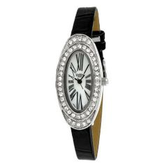 Golden Classic Women's 5146_blk Spring Fling Oval Rhinestone Crocodile-Print Leather Watch Golden Classic. $21.60. Mother of pearl dial with roman numeral hour markers. Oval case with two rows of rhinestones; Mineral crystal. Water-resistant to 99 feet (30 M). Crocodile pattern band with silver buckle. Highest standard Quartz movement. Save 40%!