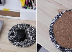 DIY mousepad from large round cork coaster/pot holder and fabric Cubical Ideas, Diy Tapis, Cube Decor, Cubicle Makeover, Office Cubicle, Cork, Do It Yourself Home, Office Decor, Office Walls