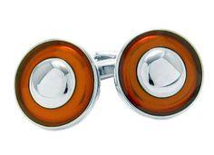 Burnt Orange Round Cufflinks (bestseller)