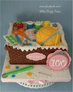 Sewing Basket for 100th Birthday - Cake by Toni (White Crafty Cakes)