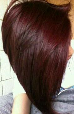 Long angled bob, dark red hair