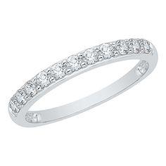 Diamond Wedding Band in 10K White Gold Size-7.25 G-H,I2-I3 1//10 cttw,