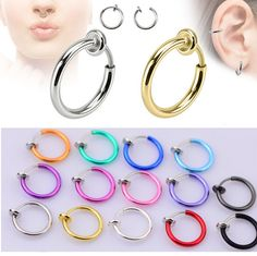 2pcs 10x13mm Colorful Fake Nose Ring Goth Punk Lip Ear Nose Clip On Fake Piercing Nose Lip Hoop Rings Earrings #Affiliate