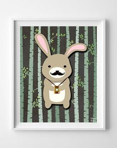 Woodland Rabbit Brown Background posters by Inkist Prints! This unique nursery decor print will make a great addition to any nursery and kids room. It would also be a great gift for baby shower and birthday.