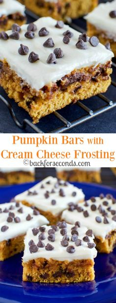 Easy Pumpkin Chocolate Chip Bars with Cream Cheese Frosting