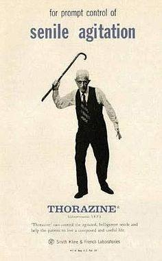 Pubblicità della Torazina contro l'agitazione senile (anni cinquanta circa)