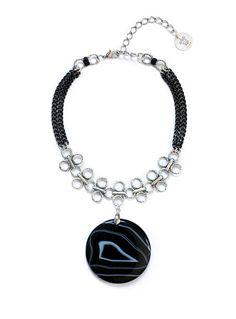 Handmade necklace. Materials Agate pendant Metal elements Measures Adjustable circuit max.42cm, front drop 7cm.