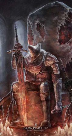 m Lich Abyss Watchers Heavy Armor Greatsword Dark Souls 3 sleeping lg Dark Souls 3, Arte Dark Souls, Dark Souls Armor, Demon's Souls, Dark Fantasy Art, Dark Art, Ornstein Dark Souls, Soul Saga, Soul Tattoo