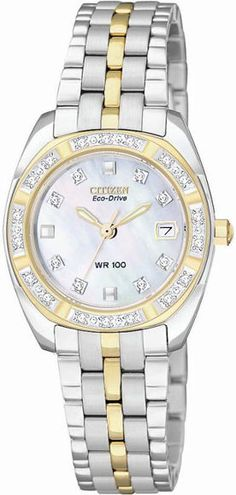Citizen Eco-Drive Paladion 26 Diamonds Mother of Pearl Women's Watch EW1594-55D…