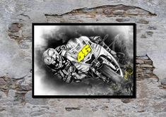 ♥ Valentino Rossi, Wall decor, Art Print of my original acrylic painting ♥ Quality print on Fabriano 200gsm card stock Delivered in a strong protective postal tube or board backed envelope. More Artwork and handmade gifts available in my shop:-