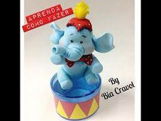 Elefante de biscuit - aula de biscuit - tema circo - Bia Cravol