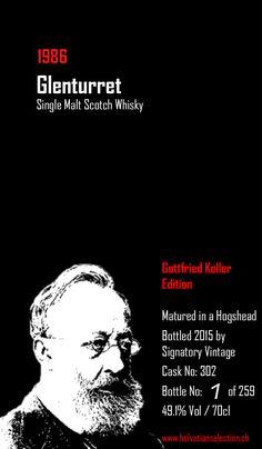 Eine fantastisch gestaltete Etikette der Whiskyflasche Gottfried Keller Edition Glenturret 1986