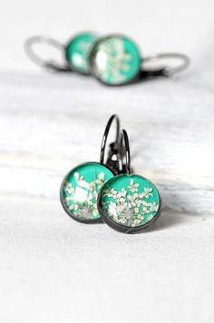 Mint green jewelry set Special gift Black jewelry Botanical jewelry Mint green…