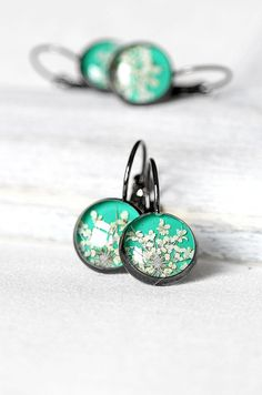 Mint green jewelry set Special gift Black jewelry Botanical jewelry Mint green…