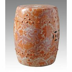 Orange Ceramic Garden Stool with Dragon Motif Legends of Asia, A perfect ceramic item for the Family and Health area