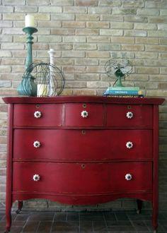 Refinished vintage dresser painted red. I love red!!!