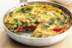 Frittata made the way my son likes it with broccoli and tomato instead of the Italian meats. A vegetable frittata similar to having a vegetable lasagna. Can be used for a Lenten alternative meal. Vegetarian Cooking, Vegetarian Recipes, Cooking Recipes, Healthy Recipes, Healthy Frittata, Frittata Recipes, Vegetable Frittata, Brunch Recipes, Breakfast Recipes