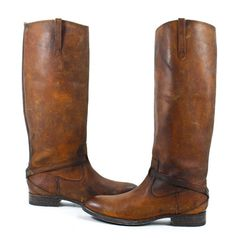 Collection of covet-worthy Frye boots, including  Lindsay Plate Leather Riding Boots in Cognac