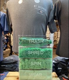 Shirts made out of plastic bottles. Eco City, Retail Experience, Material Design, Visual Merchandising, Plastic Bottles, Sustainable Fashion, Making Out, Sustainability, Art For Kids
