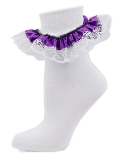 Angel Lace White Ankle Socks with Satin Trim in 9 Colors Sock Trim Color: Purple Greatlookz,http://www.amazon.com/dp/B00BIPTWB4/ref=cm_sw_r_pi_dp_cUvetb0HWZFJYEW8