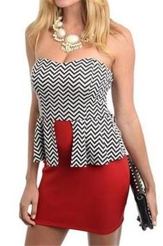 SMALL SM S 1 2 3 4 STRAPLESS TUBE RED BLACK ZIG ZAG CHEVRON PARTY PEPLUM DRESS #HollywoodRage #Cocktail