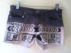 Distressed Aztec Print Gray Denim Shorts